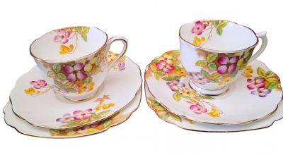 Royal Albert Clematis vintage tea trios -vintage teaware from Antik Seramika