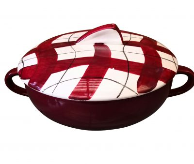 Retro mid century red and white check 1950s 1960s vintage pottery tureen from Antik Seramika UK