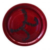 Red Flambe studio pottery charger by Peter Smith - art pottery at Antik Seramika