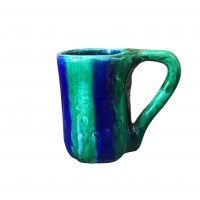 Keskar vintage French art pottery cobalt and emerald striped tankard from Antik Seramika Essex UK