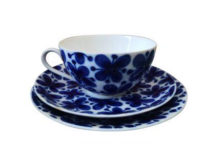 Rorstrand Mon Amie Scandinavian mid century retro blue and white trio