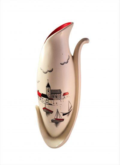 1950s Burgess and Leigh mid century retro modernist vase - Burgleigh ware at Antik Seramika
