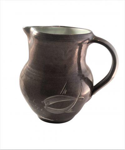 Fishley Holland vintage studio pottery jug with fish decoration Anti Seramika