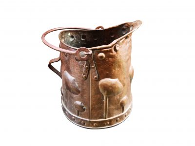 Art nouveau antique arts and crafts hammered copper coal bucket