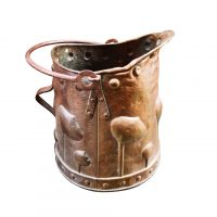 Art nouveau antique arts and crafts hammered copper coal bucket