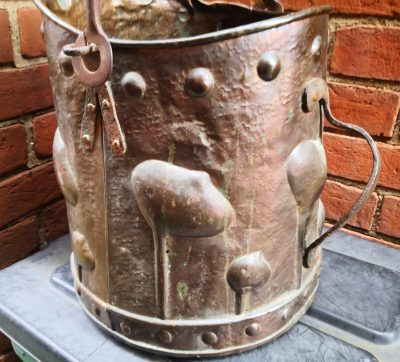 side view showing verdigris of Antique art nouveau arts and crafts copper coal bucket from Antik Seramika Essex UK
