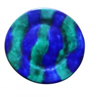 Keskar french art pottery striped blue and green plate from a range of studio pottery at Antik Seramika Essex UK