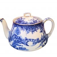 Antique blue and white transfer print country scenes teapot