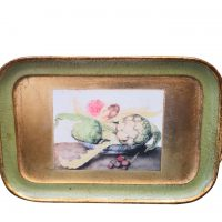 Vintage Italian painted and gilded tray, still life with artichokes