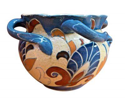 C. H. Brannam Sgrafitto art nouveau planter by James Dewdney - art nouveau pottery at Antik Seramika