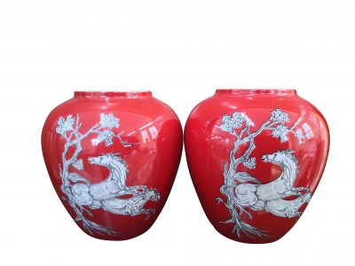Crown Devon Fieldings vintage red Pegasus vases from Antik Seramika