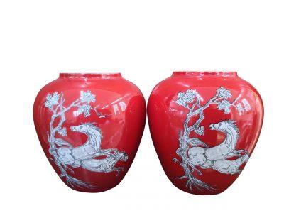 Crown Devon Fieldings vintage red Pegasus vases from Antik Seramika