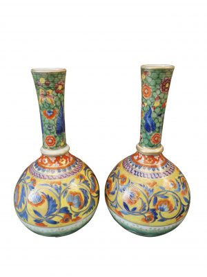 Antique clobbered pair of French vases from Antik Seramika UK