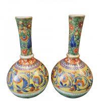 Antique clobbered pair of French vases from Antik Seramika UK