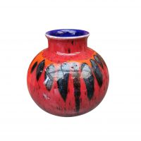 Poole red round vintage retro style vase from Antik Seramika