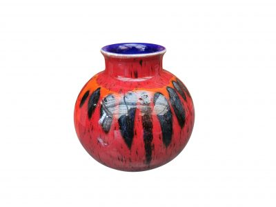 Poole red round vintage retro style vase from Antik Seramika