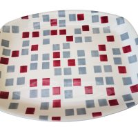 Mid-century T G Green check grey, red and cream platter - Mid-century pottery at Antik Seramika