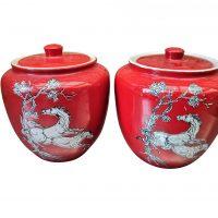 pair of red Pegasus Crown Devon Fielding 1930s Ginger jars from Antik Seramika