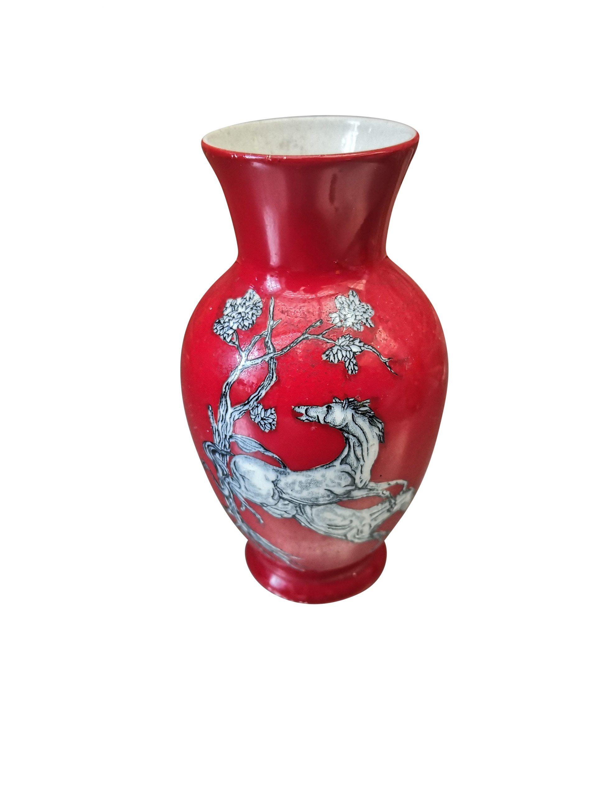 Vintage Crown Devon Fieldings small red pegasus vase - Antik Seramika vintage pottery