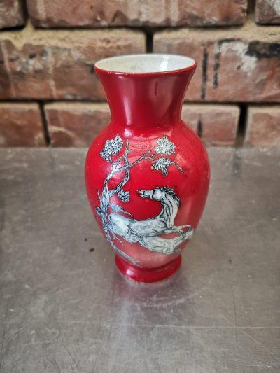 Crown Devon Fieldings Pegasus red vintage vase, 1930s pottery at Antik Seramika