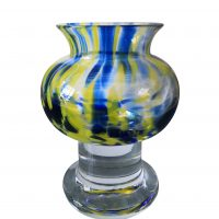 Vintage Kosta Boda SEA blue and yellow art glass Scandinavian mid-century vase - Antik Seramika