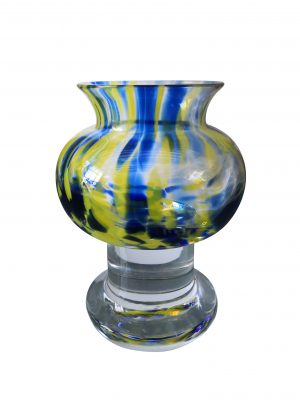 Vintage Kosta Boda SEA blue and yellow art glass Scandinavian mid-century vase - Antik Seramika