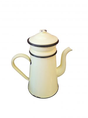 Vintage French country enamel cafetiere in pale yellow - vintage enamel ware at Antik Seramika