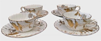 Bishop and Stonier, antique ogier demi-tasse cups and saucers -antique teaware from Antik Seramika