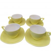 Midwinter Melmex yellow 1950s mid-century retro melamine cups and saucers in yuellow - Antik Seramika