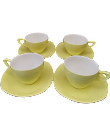 Midwinter Melmex yellow 1950s mid-century retro melamine cups and saucers in yuellow - Antik Seramika