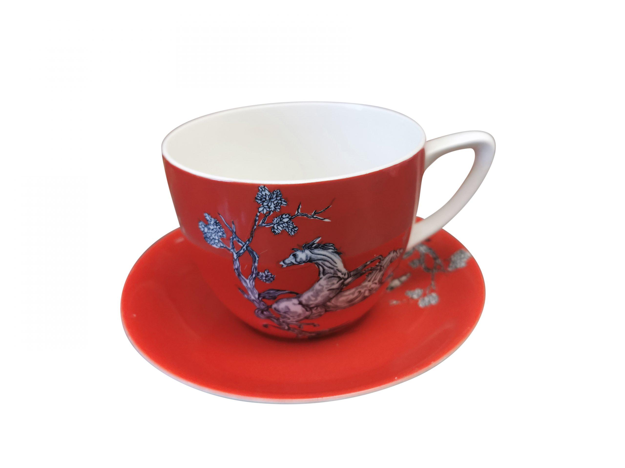 Vintage Crown Devon Fieldings large Pegasus breakfast cup and saucer - Antik Seramika