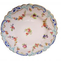 George Jones Antique crescent china hand painted plates - pair of antique plates at Antik Seramika