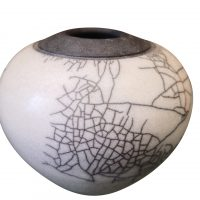 Studio pottery vintage crackle glaze black and white pot, possible native american