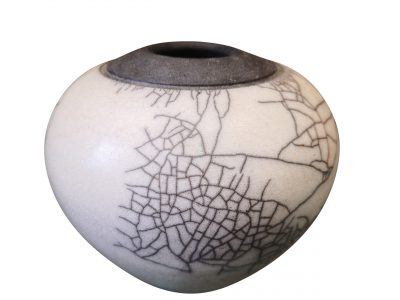 Studio pottery vintage crackle glaze black and white pot, possible native american