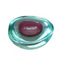 Murano Sommerso mid-century geode bowl by Flavio Poli or Mandruzzato - Art glass at Antik Seramika