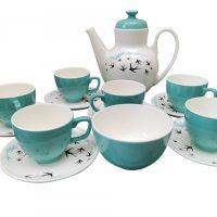 Retro Vintage Worcester Palissy Flight coffee set in turquoise and blue - Antik Seramika