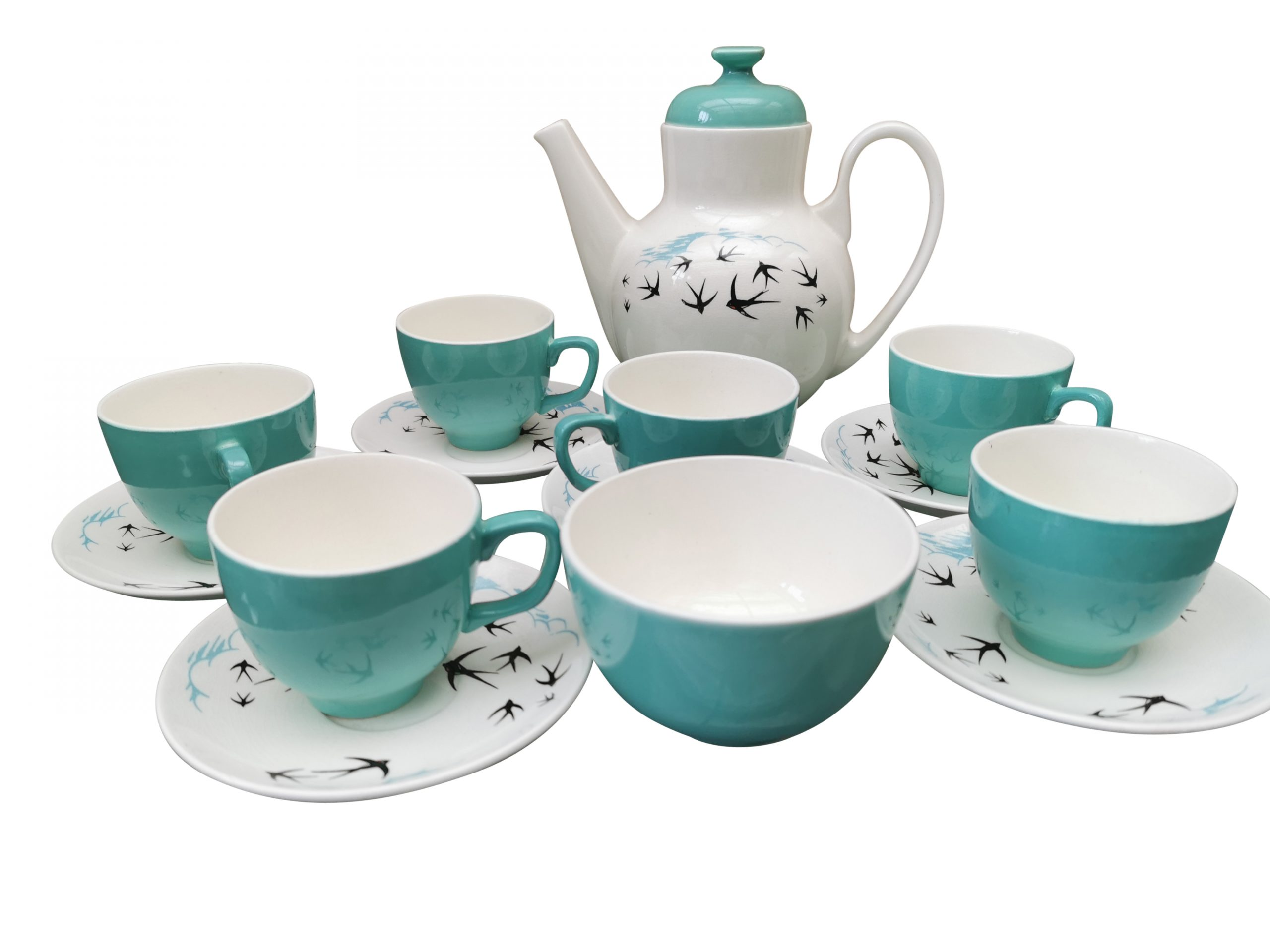 Retro Vintage Worcester Palissy Flight coffee set in turquoise and blue - Antik Seramika