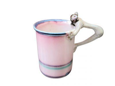 Vintage studio pottery pink mug with frog inside and frog handle - Art pottery at Antik Seramika