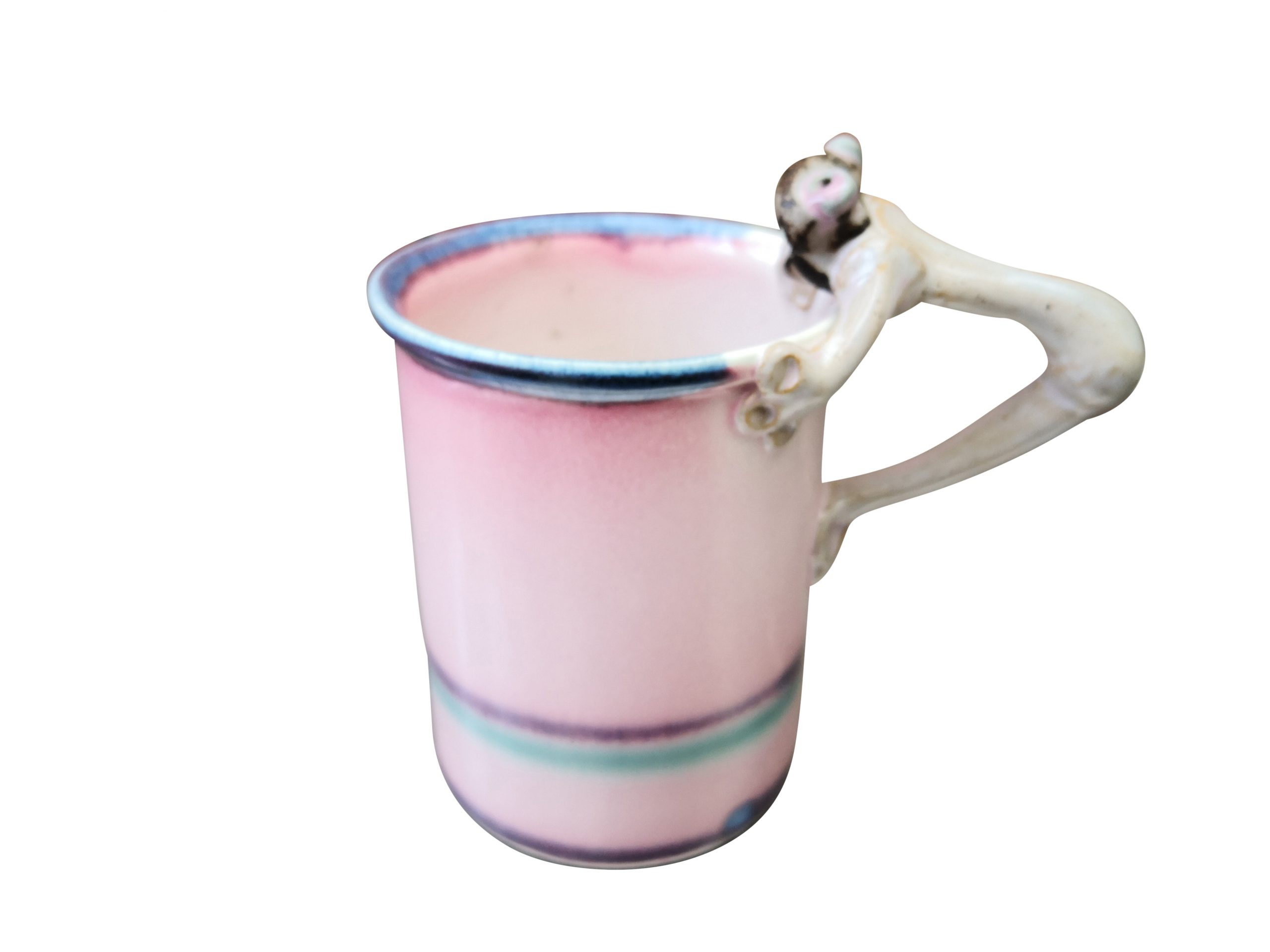 Vintage studio pottery pink mug with frog inside and frog handle - Art pottery at Antik Seramika