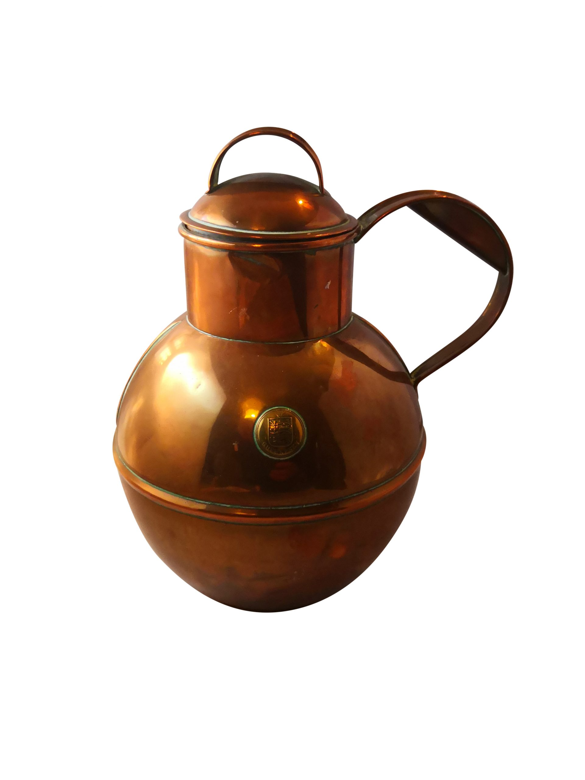 Antique C A Martin of Guernsey copper jug with lid from Antik Seramika