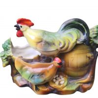 Kitsch Vintage German majolica style cockerel and chicken vase from Antik Seramika