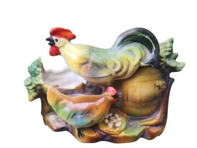 Kitsch Vintage German majolica style cockerel and chicken vase from Antik Seramika