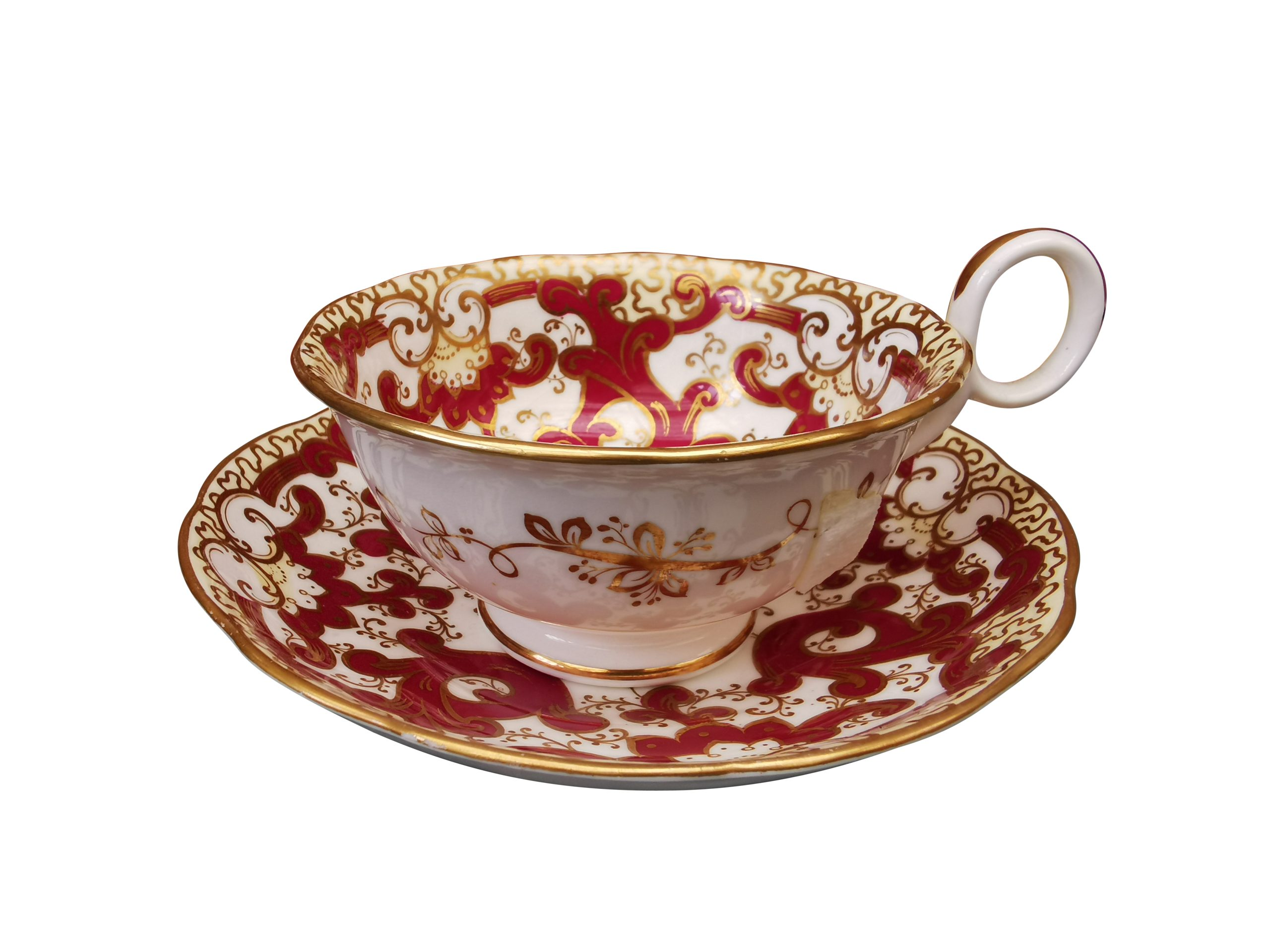 Antique Samuel Alcock red and gold breakfast cup and saucer from Antik Seramika