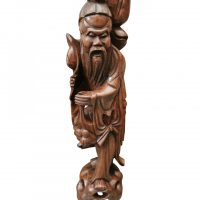 Carved wooden Chinese deity candle holder 56cms from Antik Seramika