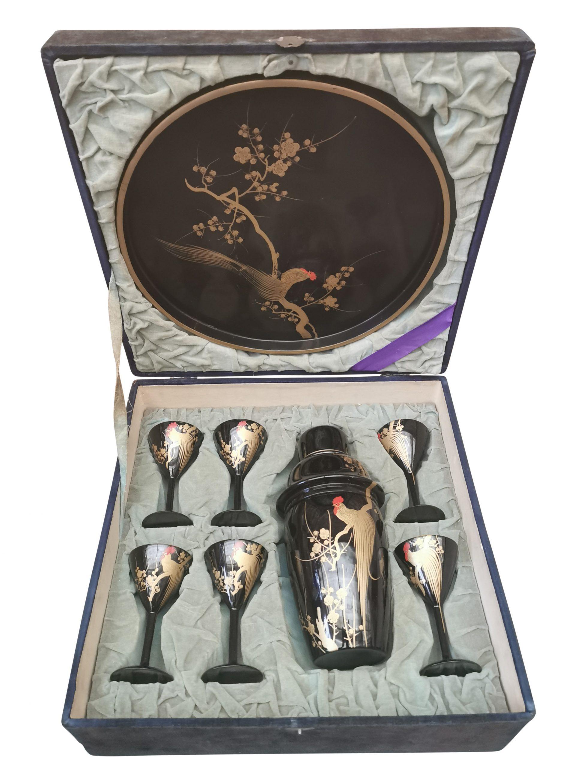 Art Deco Japanese Lacquerware cocktail set in case Antik Seramika