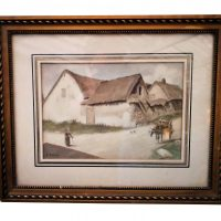 Antique French watercolour A Monnier - Antique paintings at Antik Seramika