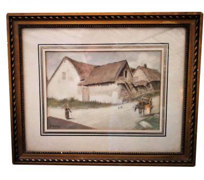 Antique French watercolour A Monnier - Antique paintings at Antik Seramika