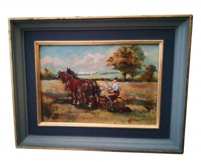 Vintage 1970s oil painting of a farmer with two horse ploughing a field - Antik Seramika