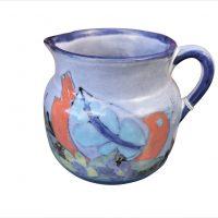Vintage retro hand painted Alcobaca jug in bright blues and oranges - Antik Seramika