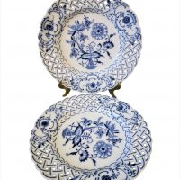 Teichert Meissen blue onion reticulated pair of plates - antique porcelain at Antik Seramika